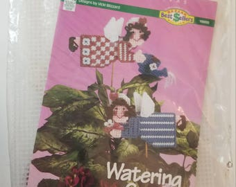 Watering Can Angels Plant Pokes Plastic Canvas Kit Unopened NIP