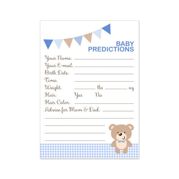 This is a graphic of Nerdy Baby Prediction Cards Free Printable