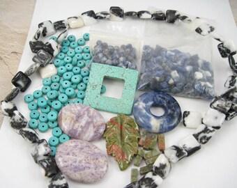 Semiprecious Stone Beads – Assorted Destash – FREE SHIP