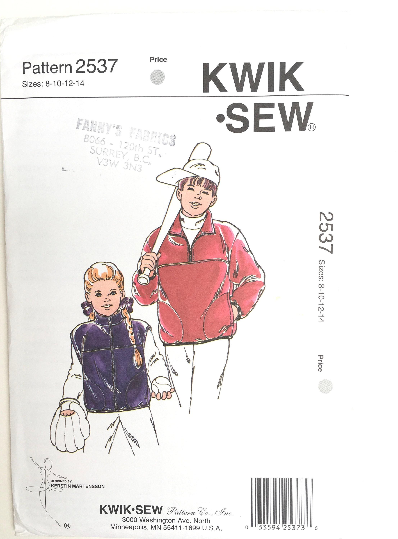 a294bbdf2f Girls/Boys Jacket Pattern/KWIK SEW #2537 Sewing Pattern/Kids Pullover  Fleece Hoody/Zippered Jacket/Fleece Vest