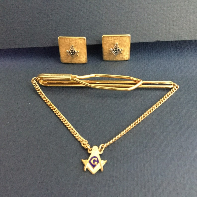 56bf796c0334 Vintage Masonic Tie Clip / Vintage Masonic Cufflinks /Free | Etsy