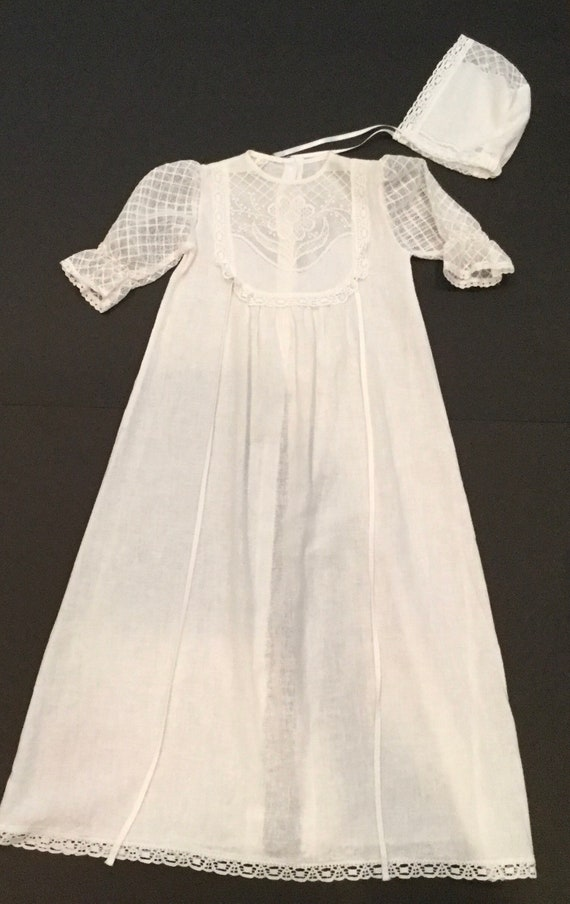 Vintage Long White Tie Back Christening Dress With