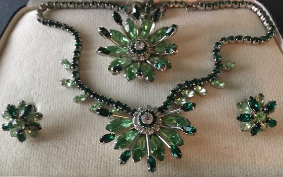 Three Piece Signed Sherman Water Lily Jewelry Set