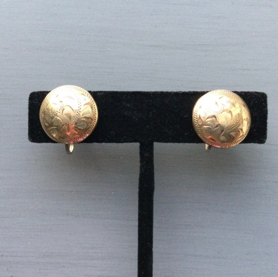 Etched Round Earrings Screw Back Gold Filled Vintage