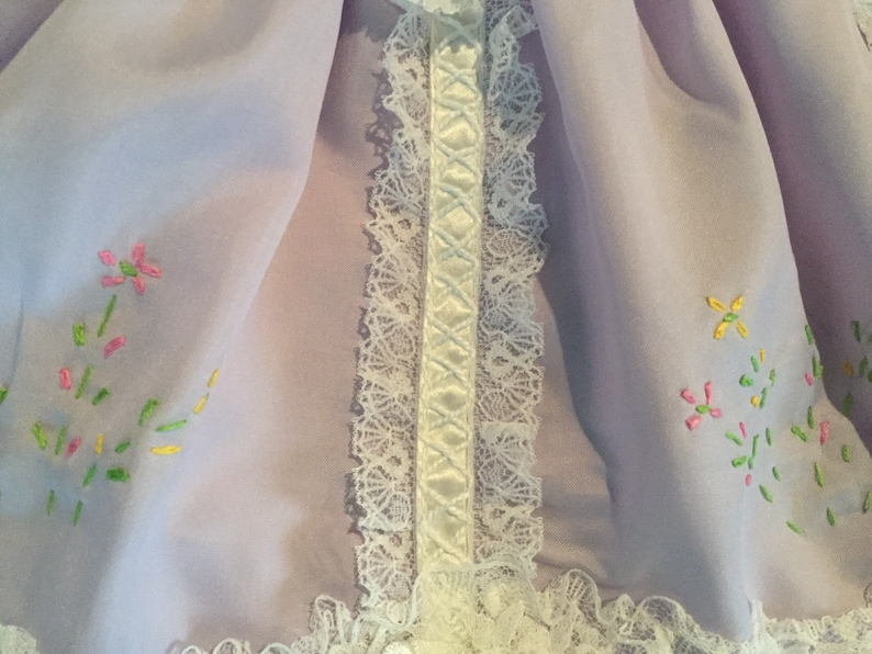 Vintage Baby Girl Mauve Lacey Dress  Doll Dress