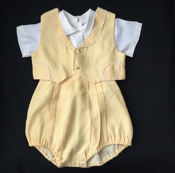 Vintage Little Angel Baby Boy 3 Piece Yellow Gingh