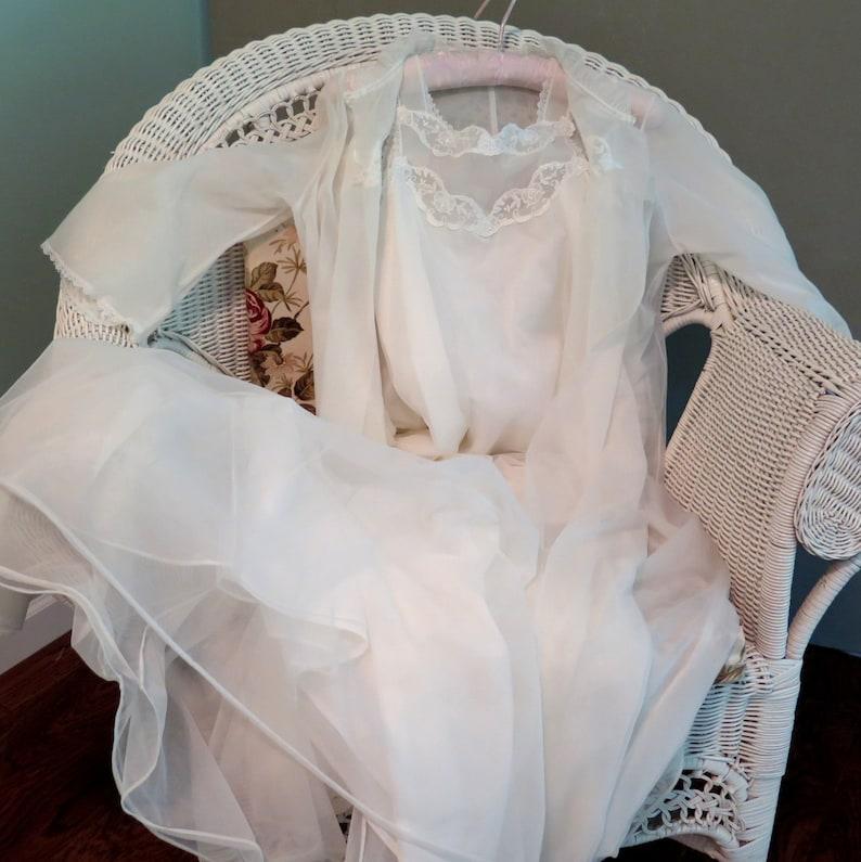 White Chiffon Wedding Peignoir Set