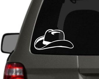 Cowboy Hat Vinyl Car Decal BAS-0124