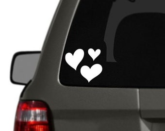 Hearts Vinyl Car Decal BAS-0159