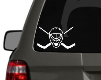 Hockey Car Decal Sticker Goalie Mask and Crossed Sticks BAS-0331
