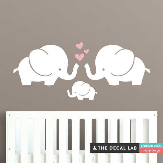 elephant family wall decal cute baby nursery decal sticker | etsy