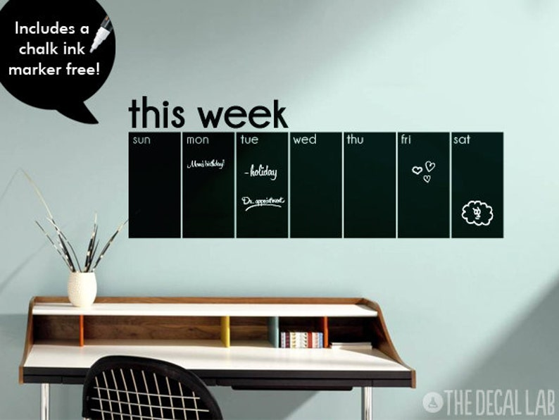 this week calendar chalkboard wall decal weekly blackboard | etsy