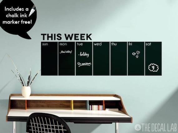 chalkboard wall decal weekly calendar this week blackboard   etsy
