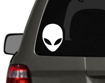 Alien Head Vinyl Car Decal BAS-0234