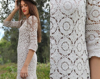 Vintage 60's cotton crochet antique lace mod mini shift dress S M L XL
