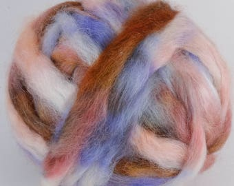 Wensleydale Roving Spinning and Felting Fiber Hand Dyed FARM WOOL 4 oz Colorway- Pace