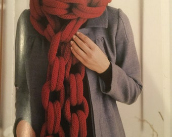 """CHAIN GANG Nicky Epstein Signature Scarf (Approx 4""""W x 92""""L )BURGUNDY wool and nylon."""