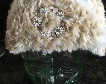 Fancy Fur Headband w Wreath Pin