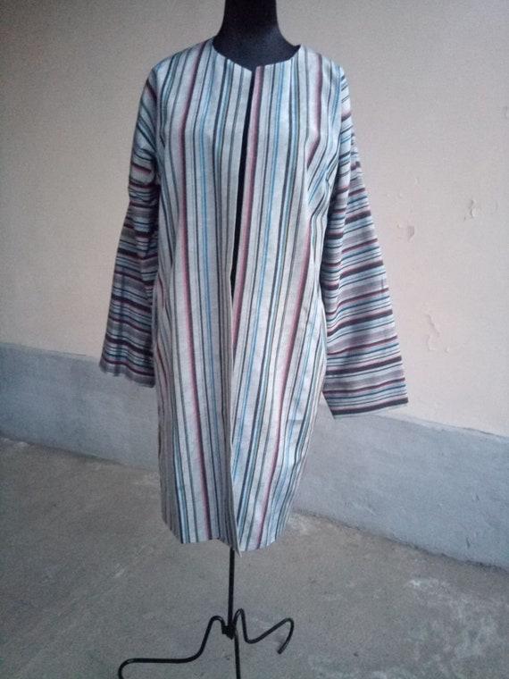 Uzbek traditional silk ikat chapan silk stripe robe. tribal ethnic coat Bekhasam kaftan