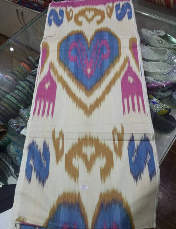 Uzbek Traditional Cotton Woven Ikat Fabric By Meter Tribal