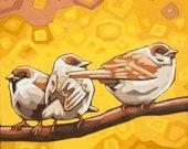 "Bird Art Print, 8"" x 8"" - Three Sparrows"