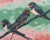 "Bird Art Print, 8"" x 8"" - Barn Swallows"