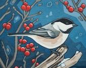 """Bird Art Print, 8"""" x 8"""" - Chickadee and Berries"""