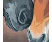 """Horse Art Print, 8"""" x 8"""" - Noses"""