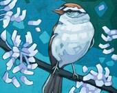 """Bird Art Print, 8"""" x 8"""" - Chipping Sparrow"""