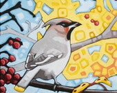 "Bird Art Print, 8"" x 8"" - Cedar Waxwing"