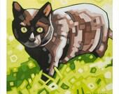 """Black Cat - Art Print, 8"""" x 8"""""""