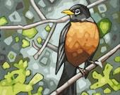 "Bird Art Print, 8"" x 8"" - Robin"
