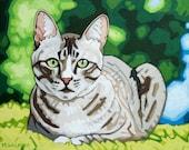 "Cat Art Print - 11"" x 14"", Green Eyes"