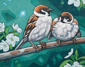 """Bird Art Print, 8"""" x 8"""" - Sparrows and Blossoms"""