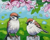 "Bird Art Print, 8"" x 8"" - Sparrows Beneath the Flowers"