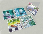 Birds and Blossoms Greeting Cards - Set of 5 (Combo 3)
