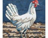 """Chicken Art Print, 8"""" x 8"""" - Blanche"""