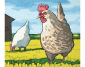 """Chicken Art Print, 8"""" x 8"""" - Henrietta"""