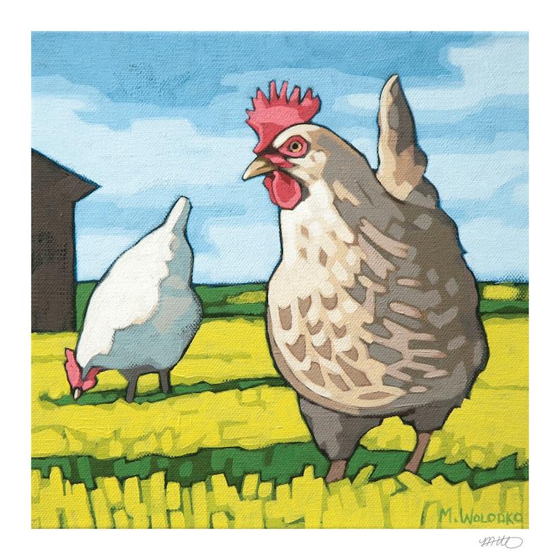 Chicken Art Print 8 x 8  Henrietta image 0