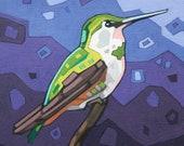 "Bird Art Print, 8"" x 8"" - Hummingbird"