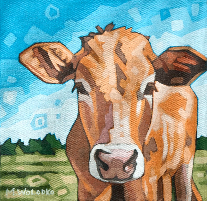 Cow in Meadow  Art Print 8 x 8 image 0