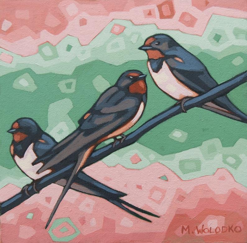 Bird Art Print 8 x 8  Barn Swallows image 0