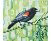 "Bird Art Print, 8"" x 8"" - Red-winged Blackbird"