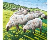 "Sheep - Art Print, 8"" x 8"" ""The Flock"""