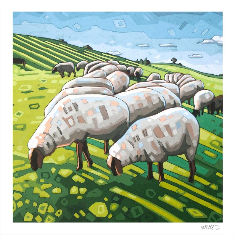 Sheep  Art Print 8 x 8 The Flock image 0