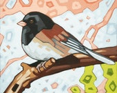 "Bird Art Print, 8"" x 8"" - Junco"