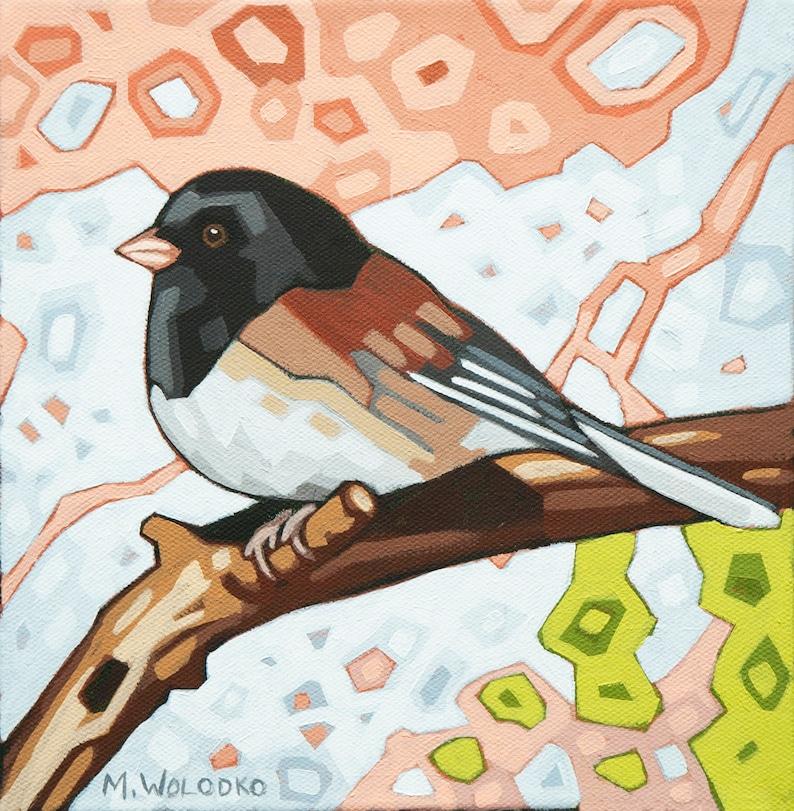 Bird Art Print 8 x 8  Junco image 0