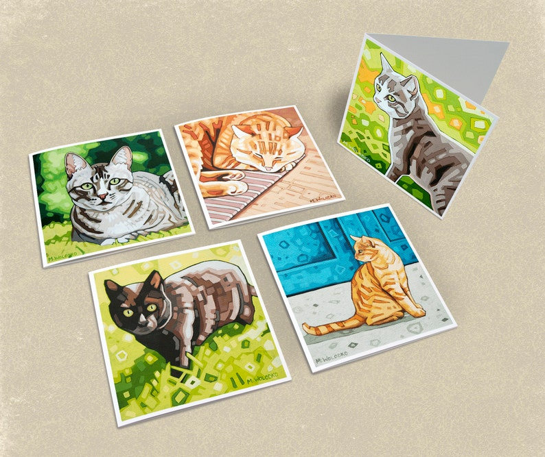 Cat Greeting Cards  Set of 5 image 0