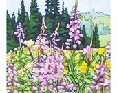 "Floral Art Print, 8"" x 8"" - Fireweed"