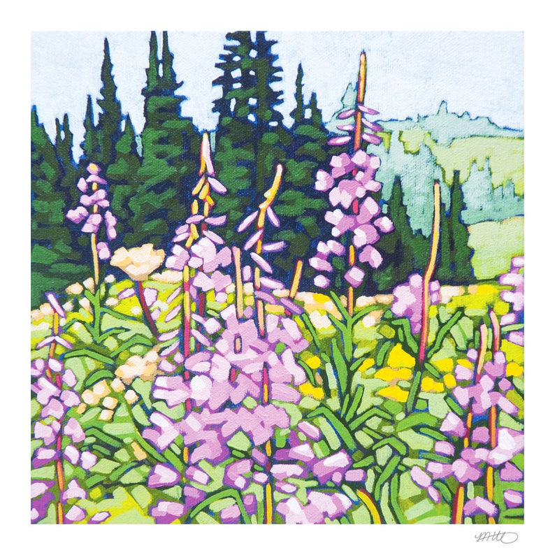 Floral Art Print 8 x 8  Fireweed image 1